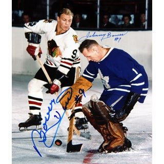 Bower Stops Hull Autographed 8X10 - Toronto Maple Leafs - Chicago Blackhawks
