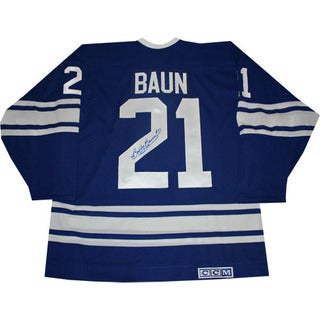 Bobby Baun Autographed Blue Toronto Maple Leafs Jersey