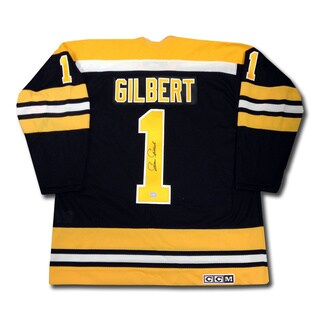 Gilles Gilbert Autographed Black Boston Bruins Jersey