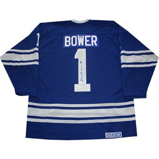 Johnny Bower Autographed Blue Toronto Maple Leafs Jersey