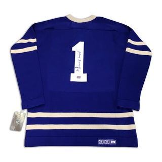 Johnny Bower Autographed Wool Blue Toronto Maple Leafs Jersey