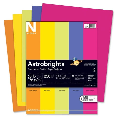 Astrobrights 65lb. Printable Assorted Colors Cardstock- 1 Pack