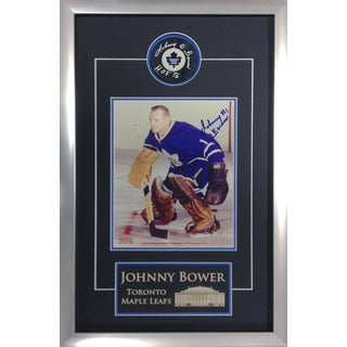 Autographed Johnny Bower Puck and 8x10 - Museum Framed