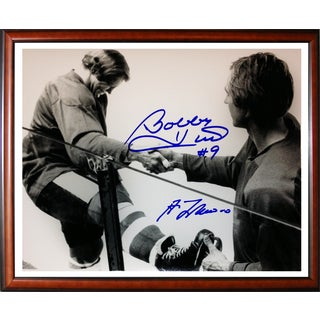 Bobby Hull and Guy Lafleur Signed Framed 8X10 - Chicago - Montreal