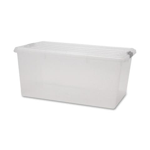 IRIS 68 Quart Buckle Down Storage Box, Clear