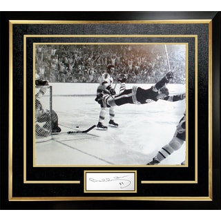 Bobby Orr 'The Goal' 11x14 Framed Photo with Cut Signature - Boston Bruins
