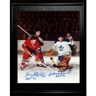 Jean Beliveau and Johnny Bower Signed Framed 8x10 - TML - MTL Canadiens