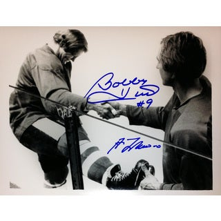 Bobby Hull and Guy Lafleur Signed 8X10 - Chicago - Montreal