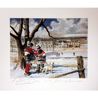 Let's Ask Lithograph - Autographed by Johnny Bower and Bobby Hull