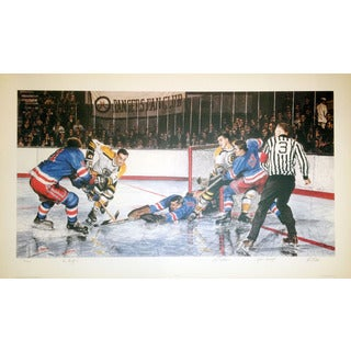 In The Slot Lithograph - Signed by Vic Hadfield, Ed Giacomin and Johnny Bucyk