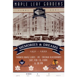 Toronto Maple Leafs Gardens Final Ticket - Bobby Hull and Johnny Bower