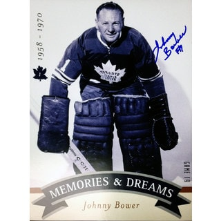 Memories Dreams 8x10 Signed by Johnny Bower - Toronto Maple Leafs - (Crouch)