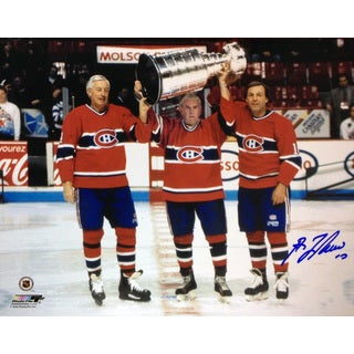 Maurice Richard, Jean Beliveau and Guy Lafleur Signed 8x10 - Montreal Canadiens