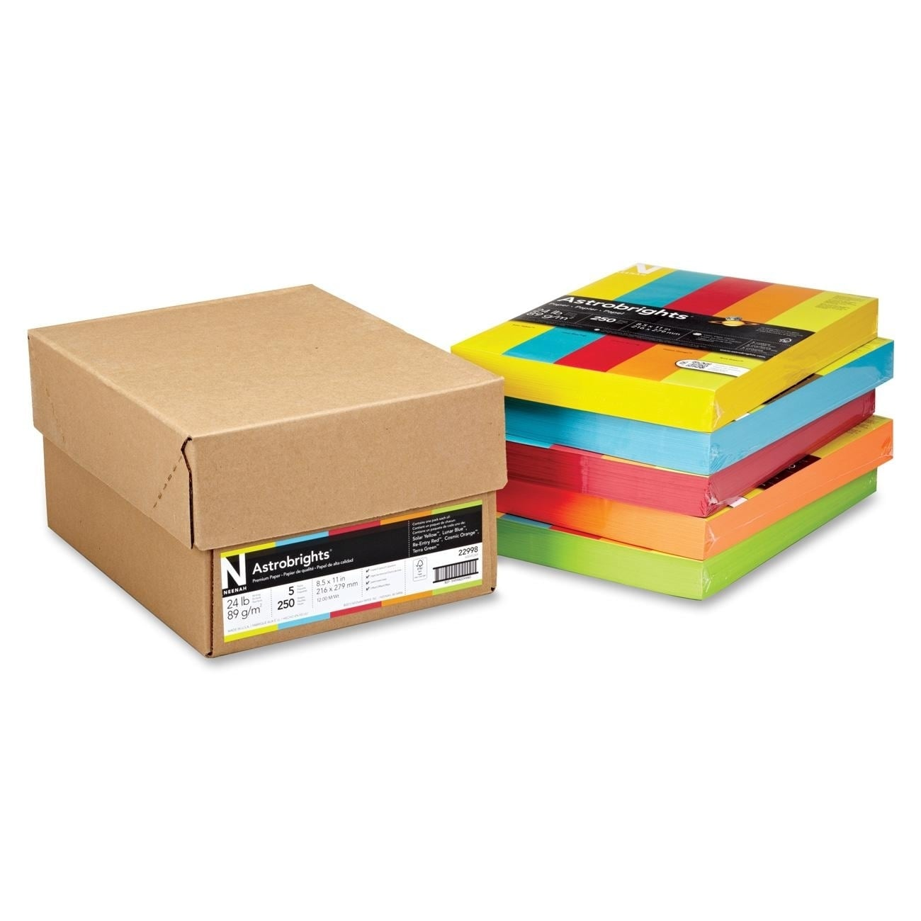 Wausau Papers Astrobrights 24lb. Assorted Colors Paper - ...