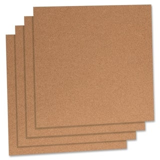 "Lorell 12"" x 12"" Natural Cork Panels - Pack of 4"