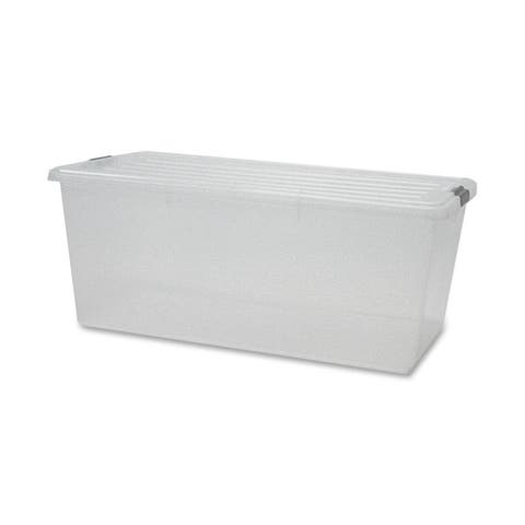 IRIS 91 Quart Buckle Down Storage Box, Clear - 91 qt