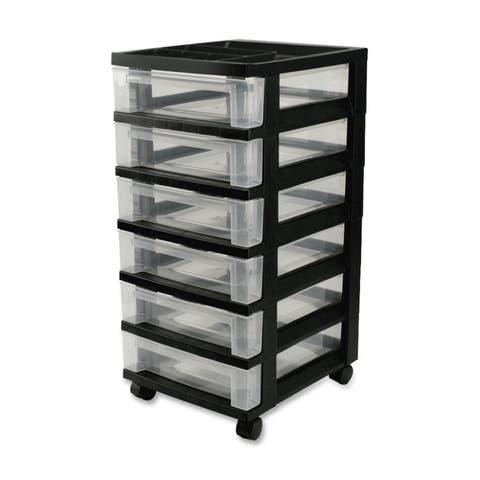 IRIS Medium 6-Drawer Cart with Organizer Top, Black