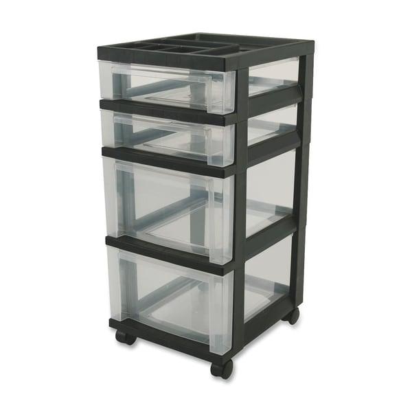 IRIS 4-Drawer Storage Cart with Organizer Top, Black. Opens flyout.