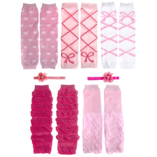 Crummy Bunny Pink and White 7-piece Leggings and Headband Set