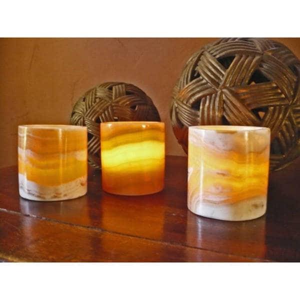 Handmade Set of 3 Alabaster Cylinders (Egypt)