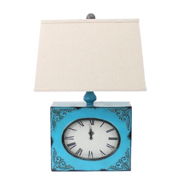 Teton Home Blue Metal Clock Base 1-light Table Lamp