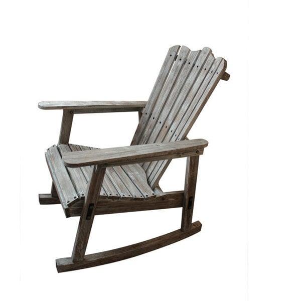 teton home weathered grey finish adirondack rocking chair - Adirondack Rocking Chair