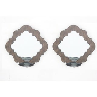 Teton Home Brown Pair of Wood Candle Holder with Mirror
