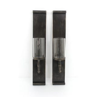 Teton Home Pair of Black Metal Candle Holders
