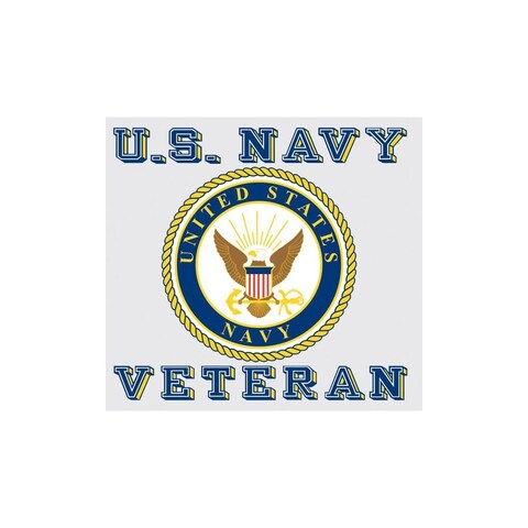 US Navy Veteran with Navy Logo Car Decal