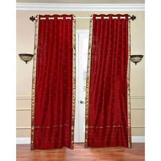 84-inch Fire Brick Ring Top Sheer Sari Curtain Drape Window Panel , Handmade in India