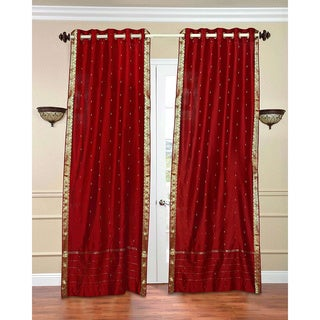 84-inch Fire Brick Ring Top Sheer Sari Curtain Drape Window Panel , Handmade in India