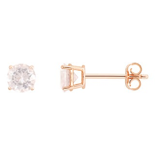 14k Rose Gold Round Morganite Stud Earrings