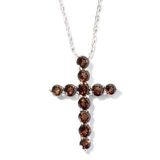 Stering Silver Topaz Cross Necklace