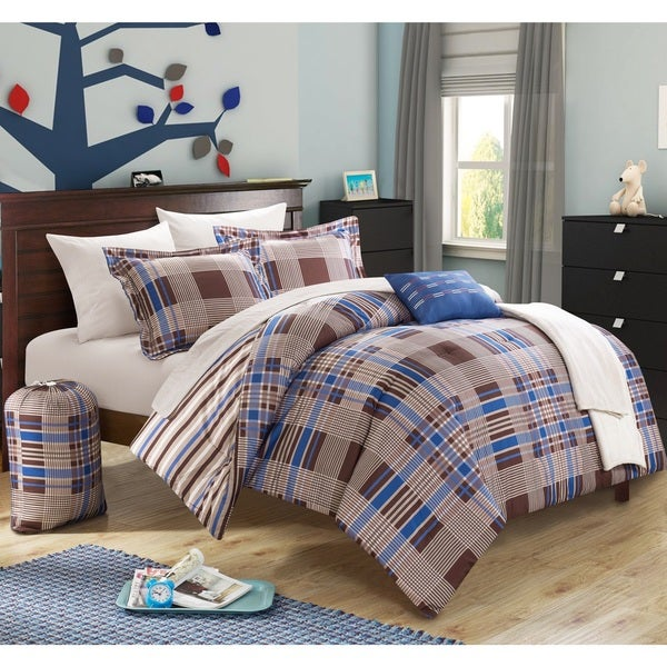 Chic Home Cambridge Super Soft Plaid and Stripe Reversible 10-piece Bed in a Bag with Sheet Set