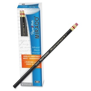 Paper Mate Mirado Classic Black Pencils with Eraser - 12/DZ