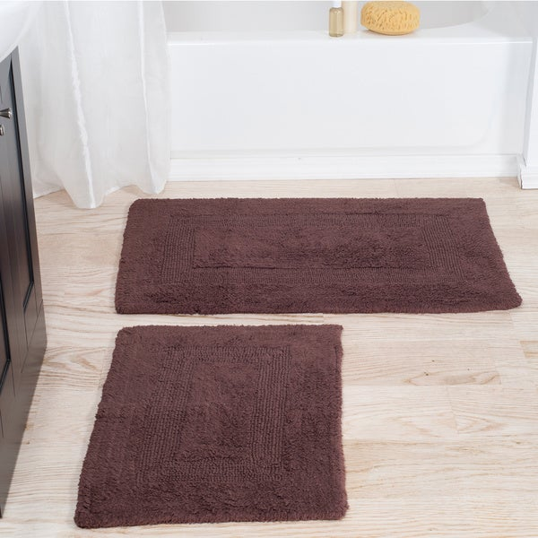 2 Piece Reversible Bath Rug Set Shower Carpet Mat Bathroom Floor Tub Rugs Cotton