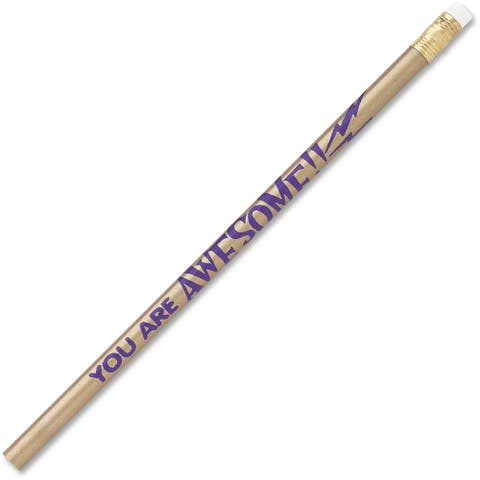 Moon Products Decorated Wood Pencil, You Are Awesome, HB #2, Gold Barrel, Dozen - 12/DZ