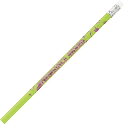 Moon Products Decorated Wood Pencil, Attendance Award, HB #2, Assorted Barrel Colors, Dozen - 12/DZ