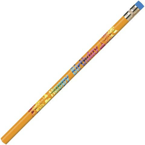 Moon Products Decorated Wood Pencil, Happy Birthday, #2, Black/Blue/Green/Purple/Red, Dozen - 12/DZ