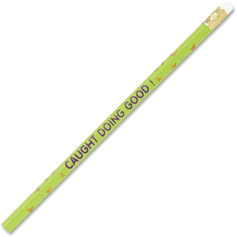Moon Products Decorated Wood Pencil, Caught Doing Good, HB #2, Green Barrel, Dozen - 12/DZ