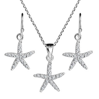 Handmade Starfish Sparkling CZ .925 Silver Necklace Earrings Set (thailand)