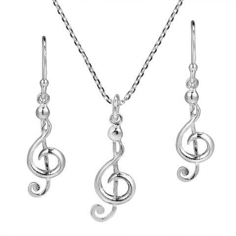 Handmade Musical Charm Treble Clef .925 Stering Silver Jewelry Set (Thailand)