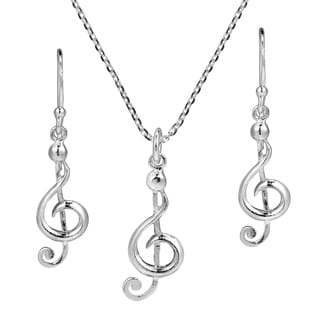 Musical Charm Treble Clef .925 Stering Silver Jewelry Set (Thailand)