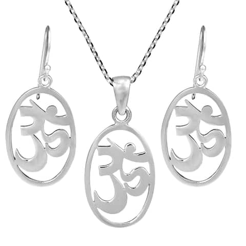Handmade Serenity Om the Absolute Sterling Silver Necklace Earrings Set (Thailand)