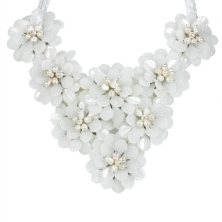 Floral Enchantress Pearl and Milk Quartz Statement Necklace (Thailand)