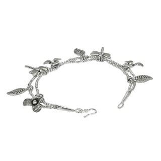 Dragonfly Garden Karen Tribe Handmade Silver Bracelet (Thailand)