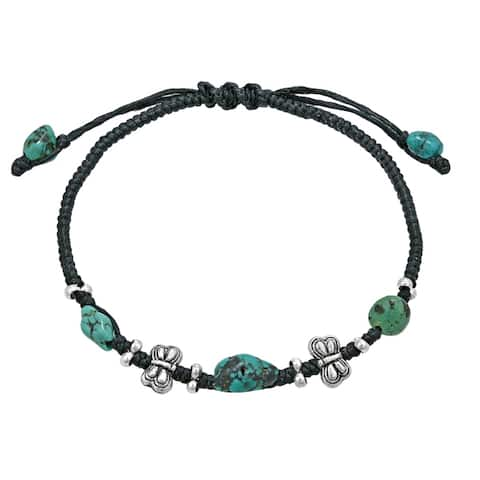 Handmade Mini Butterfly Turquoise Black Waxed Cotton Rope Bracelet (Thailand)