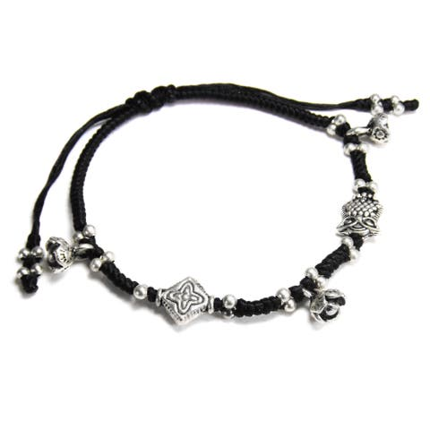 Handmade Mystic Owl and Flower Waxed Cotton Rope Bracelet (Thailand)