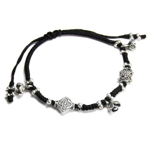 Handmade Mystic Owl and Flower Waxed Cotton Rope Handmade Bracelet (Thailand)