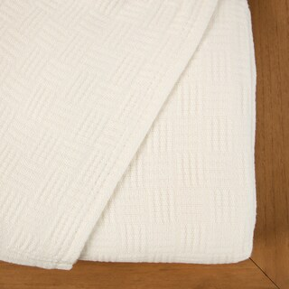 Maison Luxe Luxury Rayon from Bamboo Combed Cotton Basket Weave Blanket (4 options available)